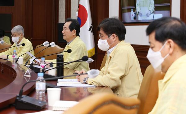 정세균 국무총리가 23일 서울 세종로 정부서울청사에서 열린 코로나19 중대본 회의에서 발언하고 있다.