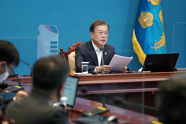 문재인 대통령이 24일 오후 청와대에서 수석·보좌관 회의를 주재하고 있다. (사진=청와대)