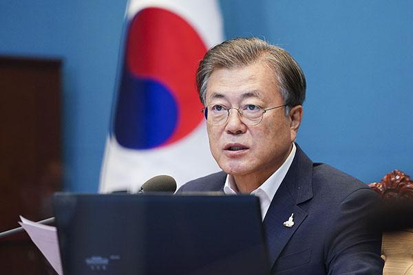 문재인 대통령이 7일 청와대에서 수석·보좌관 회의를 주재하고 있다. (사진=청와대)
