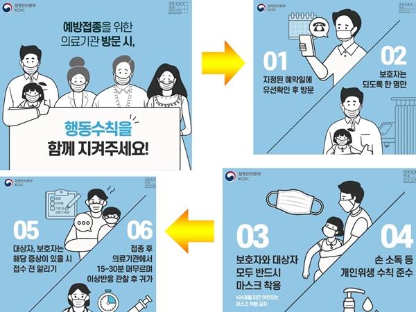 예방접종을 위한 의료기관 방문 시, 행동수칙을 함께 지켜주세요!(출처:질병관리본부)