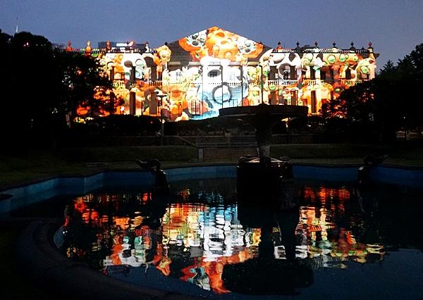 덕수궁 석조전에서 문화재청 주최로 열린 '석조전, 낭만을 상상하다' 에서 본 미디어파사드.