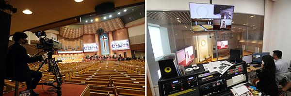 서울 여의도 순복음교회(왼쪽)와 원불교 강남교당에서 관계자들이 예배와 법회를 각각 생중계하고 있다. (사진=저작권자(c) 연합뉴스, 무단 전재-재배포 금지)