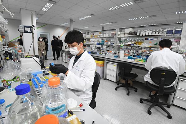 경기도 용인시 GC녹십자에서 연구원들이 코로나19 혈장 치료제 개발에 몰두하고 있다. (사진=저작권자(c) 연합뉴스, 무단 전재-재배포 금지)