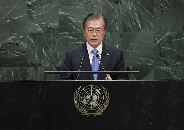 문재인 대통령이 2019년 9월 24일 뉴욕 유엔 총회장에서 기조연설을 하고 있다. (사진=청와대)
