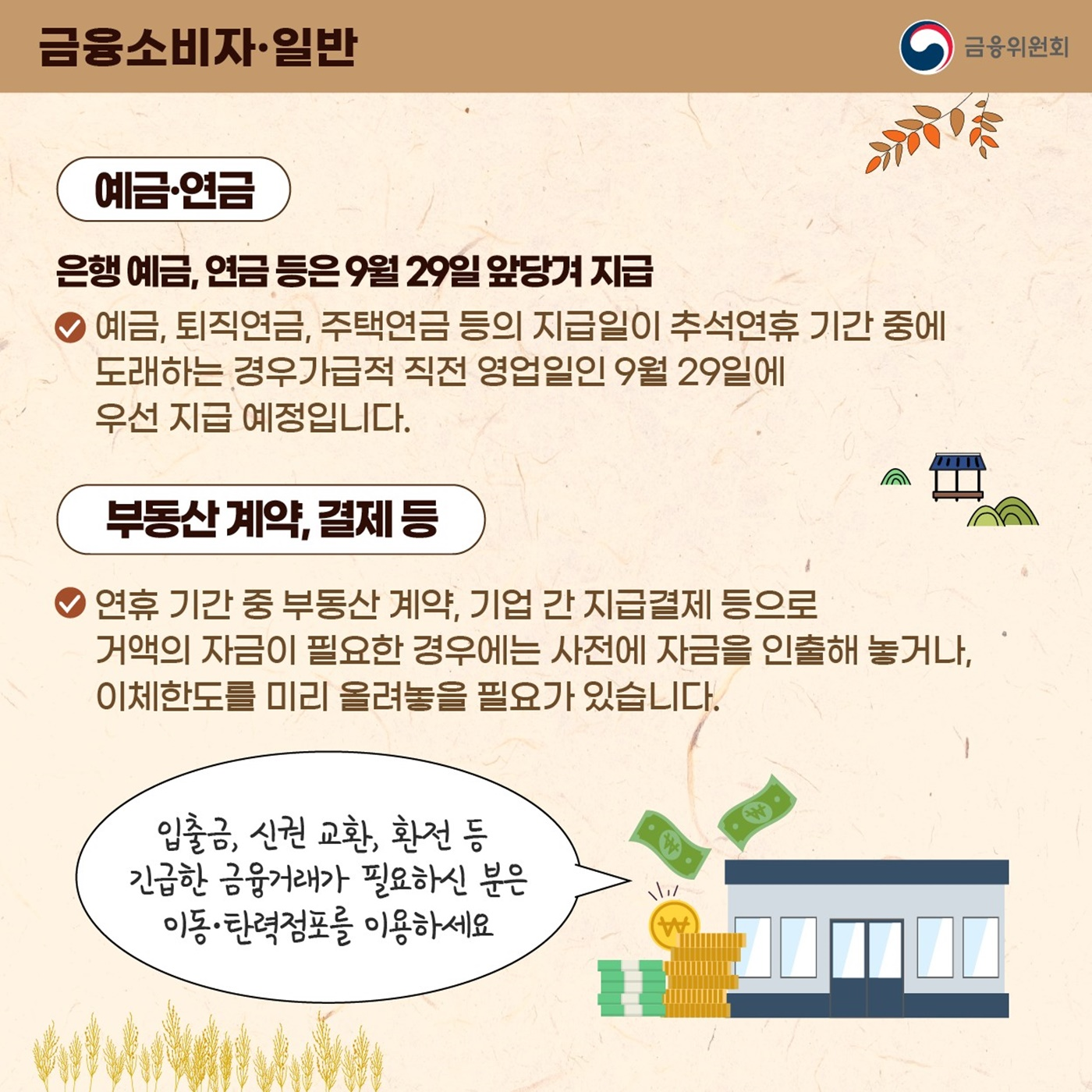 추석 연휴 중소기업과 서민을 위한 금융지원 강화