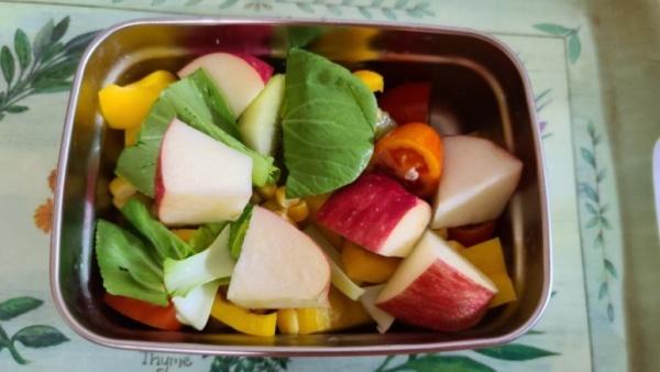 여러가지 야채와 채소를 썰어 넣은 샐러드.