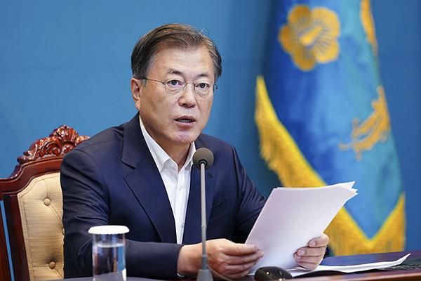 문재인 대통령이 5일 청와대에서 수석·보좌관 회의를 주재하고 있다. (사진=청와대)