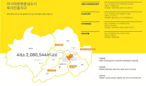 아시아문화중심도시 투자진흥지구 지정 현황.