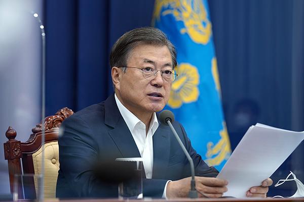문재인 대통령이 19일 청와대에서 수석·보좌관 회의를 주재하고 있다. (사진=청와대)