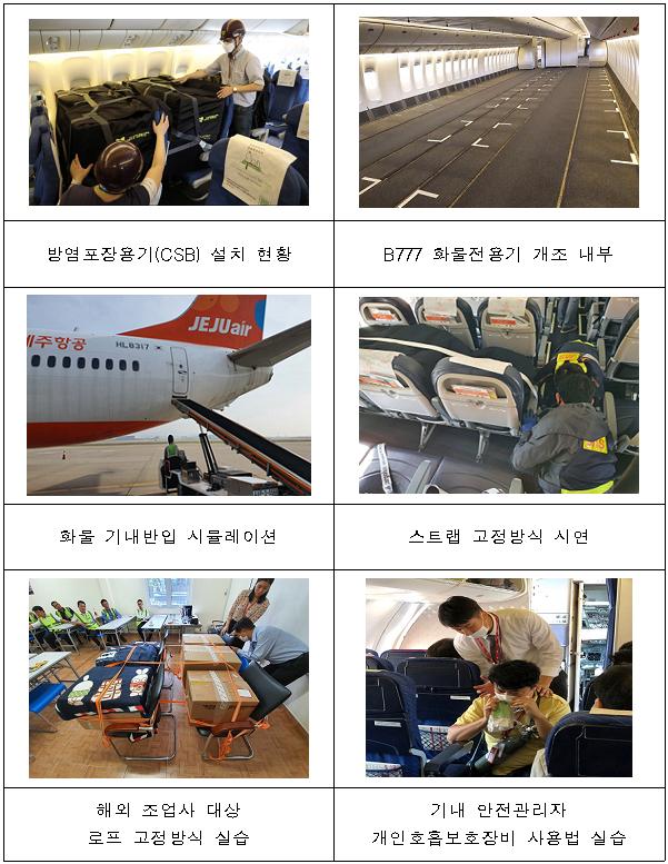 여객기로 화물운송 안전조치 주요 현황.