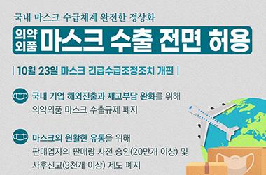 23일부터 의약외품 마스크 수출 전면 허용