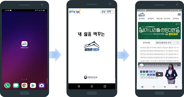 광화문1번가 국민참여플랫폼 모바일 앱 접속 화면.