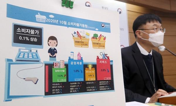 안형준 통계청 경제동향통계심의관이 3일 오전 정부세종청사에서 2020년 10월 소비자물가동향을 발표하고 있다. (저작권자(c) 연합뉴스, 무단 전재-재배포 금지)