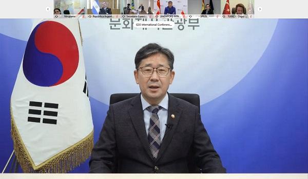 박양우 문체부 장관은 4일 화상으로 열린 '주요 20개국(G20) 문화장관회의'에 참석해 코로나19 위기 속에서도 문화 분야가 혁신적이고 지속 가능하게 발전할 수 있도록 추진하고 있는 한국 정책 사례를 발표했다.