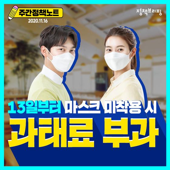 [주간정책노트] 13일부터 마스크 미착용 시 과태료가 부과됩니다