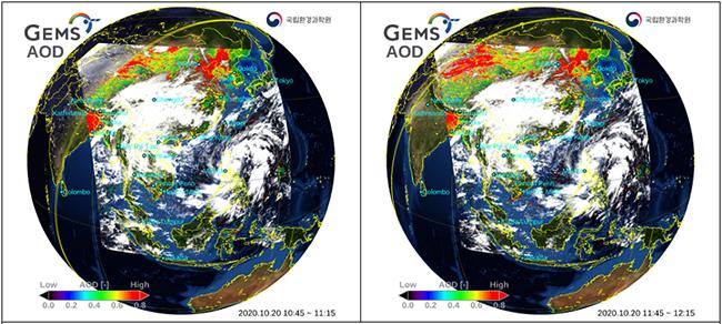 2020년 10월 20일 미세먼지 관측영상. 중국에서 발원한 황사 및 고농도 미세먼지가 유입돼 환경위성으로 한반도 주변에서 관측되고 있다.(환경부 제공)