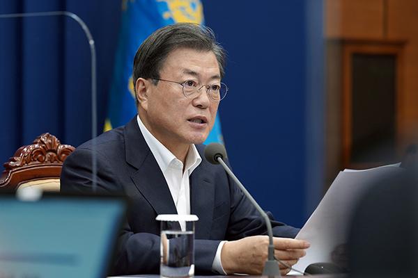 문재인 대통령이 지난 9일 청와대에서 수석·보좌관 회의를 주재하고 있다. (사진=청와대)