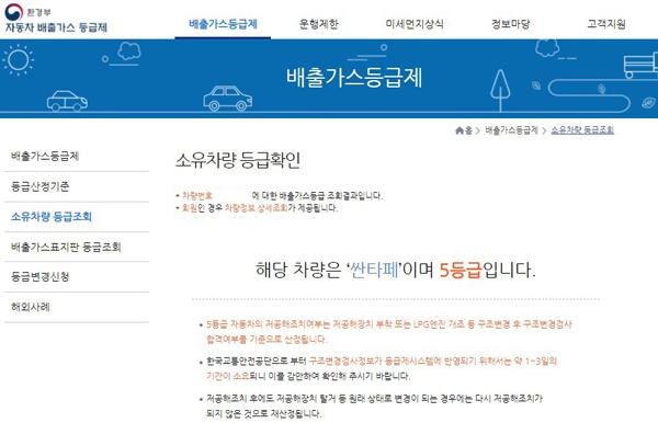 배출가스 5등급 차 등급을 받은 아버지의 차는 12월부터 3월까지 제한적으로 운행하게 됐다.