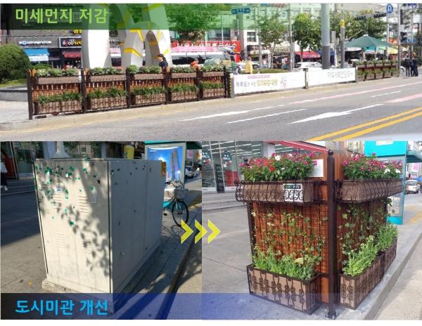 초록울타리 설치 전과 후.(사진=양천구청)