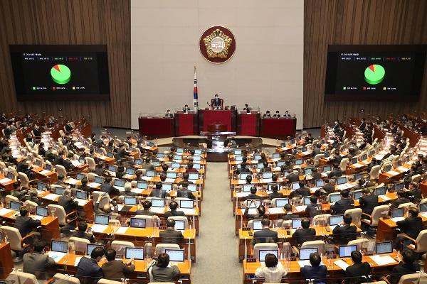박병석 국회의장이 2일 국회 본회의에서 558조원(정부안 대비 2조2천억원 증액) 규모의 2021년도 예산안을 의결하고 있다. (저작권자(c) 연합뉴스, 무단 전재-재배포 금지)