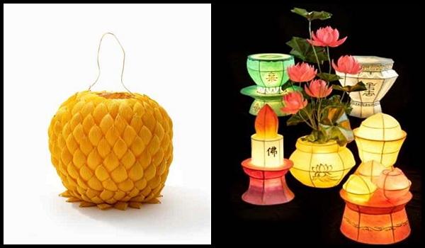 (왼쪽)'연꽃등' , (오른쪽)'육법공양등(차등, 향등, 화등, 초등, 과등, 미등)', 연등회보존위원회 소장 <출처=문화재청>