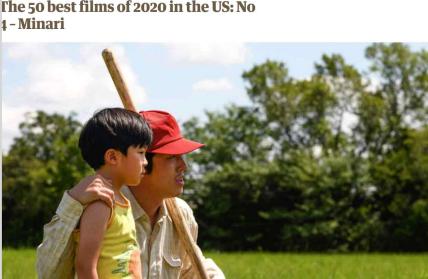 영 가디언, 2020 최고의 미국 영화 4위에 '미나리' 선정