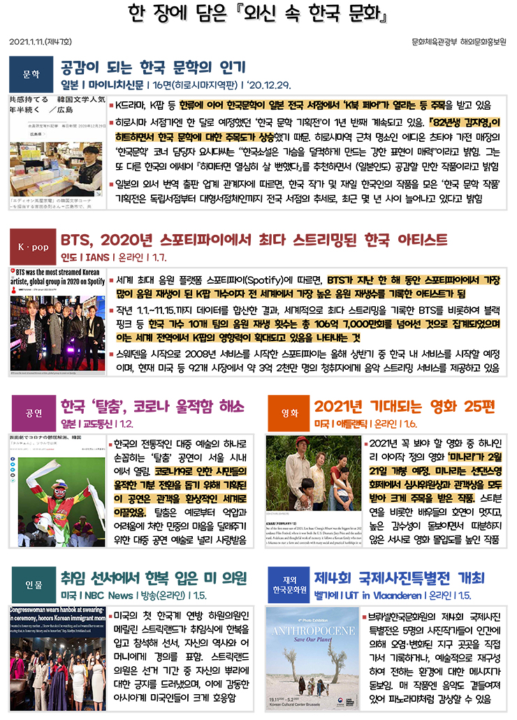 한 장에 담은 외신 속 한국 문화 제47호(2021.1.11)