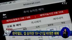 한국철도, 설 승차권 19∼21일 비대면 예매