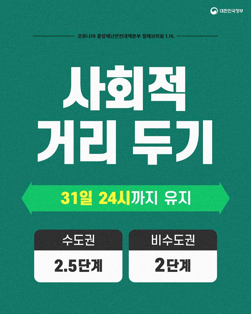 사회적 거리두기 31일까지 연장