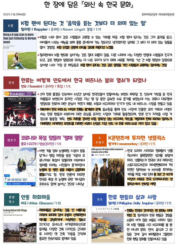 한 장에 담은 외신 속 한국 문화 제48호(2021.1.18)