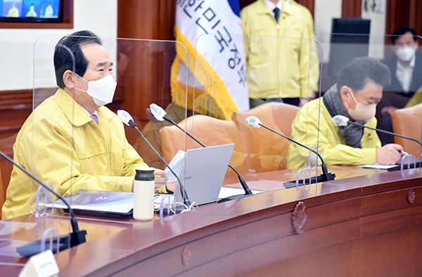 정세균 국무총리가 19일 정부서울청사에서 열린 코로나19 중대본 회의에서 발언하고 있다.