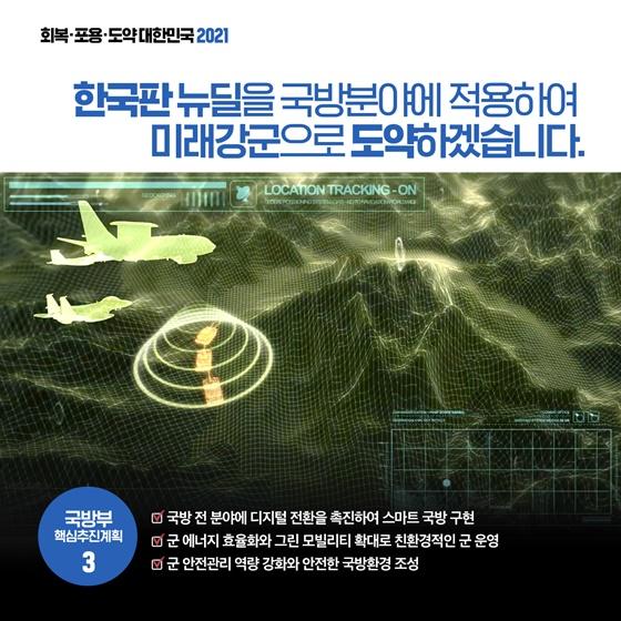 한국판 뉴딜을 국방분야에 적용하여 미래강군으로 도약하겠습니다