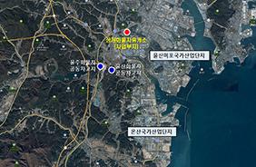 사업부지 항공사진(위 울산 상개화물차휴게소, 아래 인천 인천화물차휴게소).