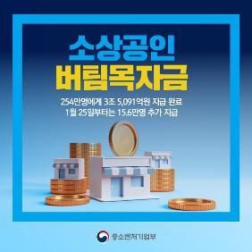 소상공인 버팀목자금 1월 25일부터 15.6만명 추가 지급