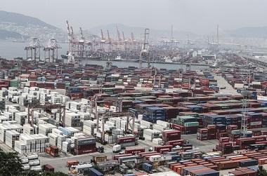 1월 수출이 11.4% 증가한 480억1000만 달러로 3개월 연속 증가한 것으로 나타났다. 사진은 부산항 신선대부두에 수출입 컨테이너가 가득 쌓여 있는 모습.