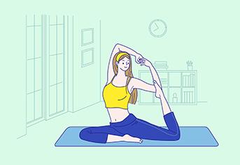 운동하는 여자.