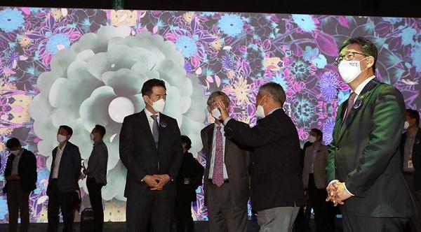 박양우 문체부 장관은 지난해 5월 19일 국립중앙박물관 '디지털실감영상관' 일반 공개를 앞두고 열린 사전 개막행사에 참석했다.(사진=문체부)