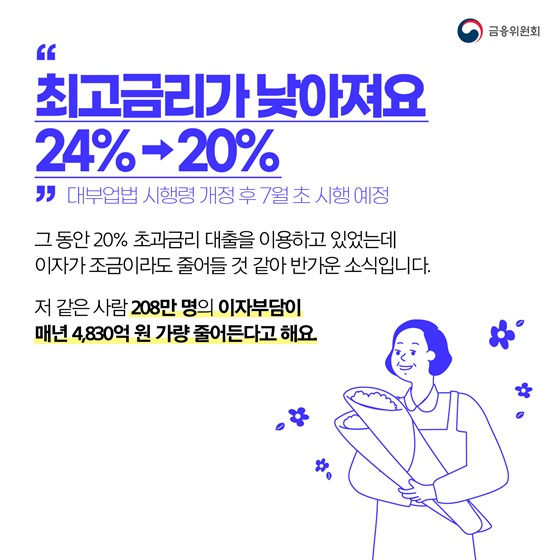 """""""최고금리가 낮아져요 24% → 20%"""""""