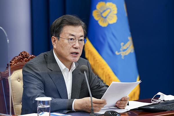 문재인 대통령이 22일 청와대에서 열린 수석·보좌관 회의에서 발언하고 있다. (사진=저작권자(c) 연합뉴스, 무단 전재-재배포 금지)