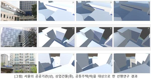 [그림] 서울의 공공기관(상), 상업건물(중), 공동주택(하)을 대상으로 한 선행연구 결과