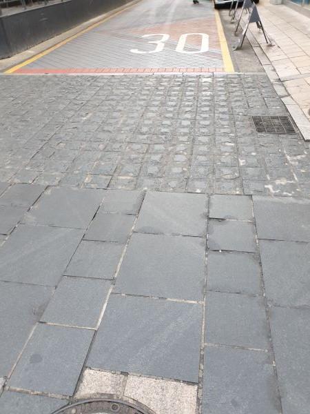 이면도로 바닥에 차량의 운행속도를 줄이는 장치가 생겼다.