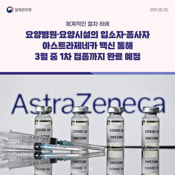 요양병원·요양시설의 입소자 종사자 아스트라제네카 백신 통해 3월 중 1차 접종까지 완료 예정