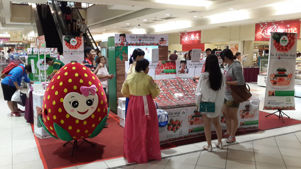말레이시아 쿠알라룸푸르 한 쇼핑센터에서 열린 국산 딸기 판촉 행사 현장.(사진=농림축산식품부)