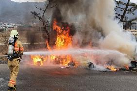 논밭 소각으로 산불이 일어난 화재현장.