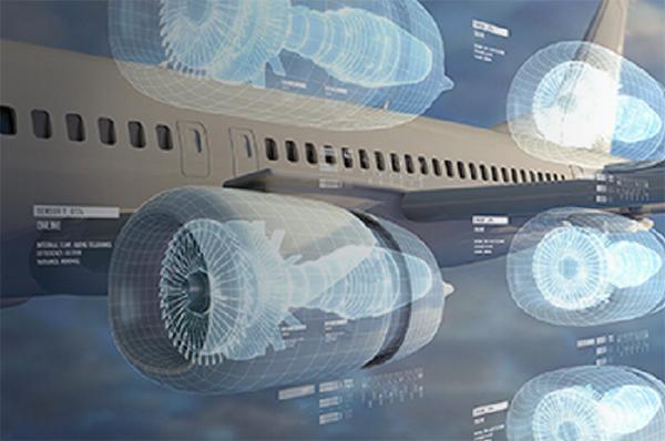 GE 항공기 엔진의 디지털 트윈.