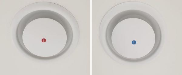 천장에 고효율 전열 교환 환기장치가 있다.