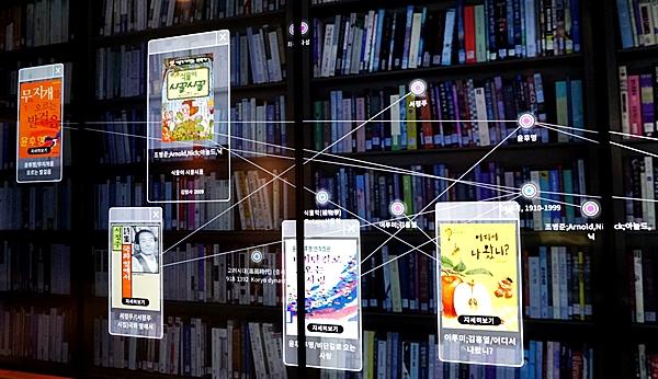 검색한 도서를 대형화면으로 띄우면, 연관 키워드끼리 묶어주며 타인의 검색도서와도 함께 뜨게 된다