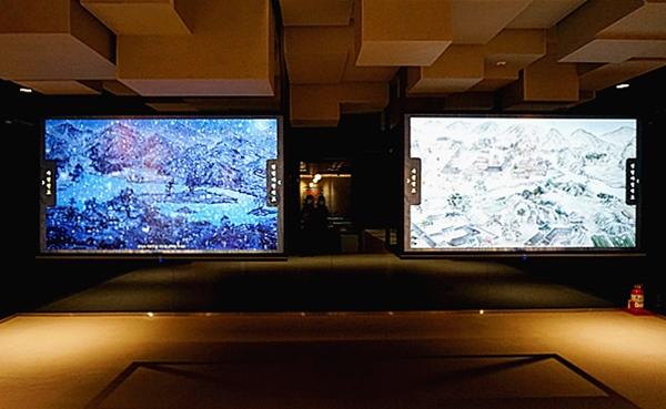 선비의 일상을 그린 영상이 흐르고 수선전도와 목장지도를 선택해 볼 수 있다.