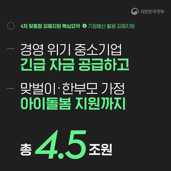 경영 위기 중소기업 긴급 자금 공급 맞벌이·한부모 가정 아이돌봄 지원