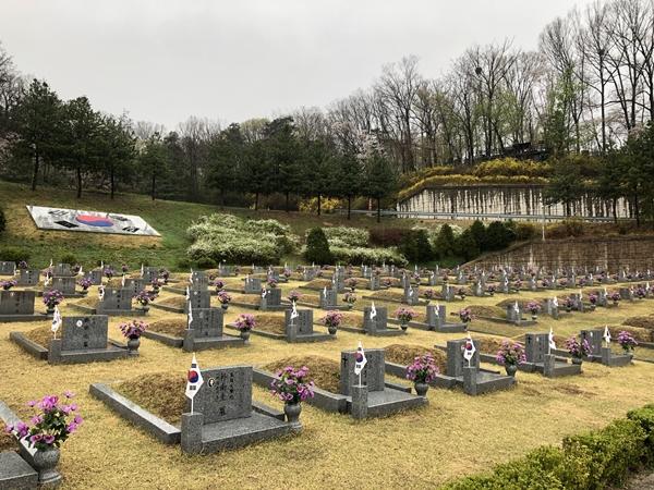 민주열사들이 모셔진 묘역.